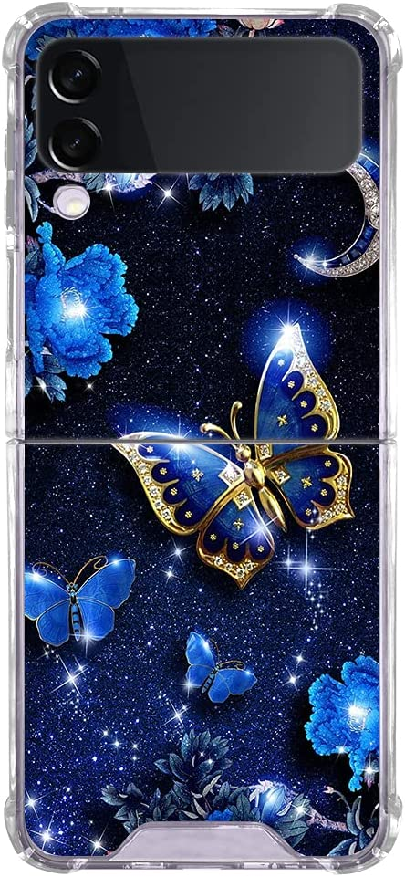 Fitunta Clear Phone Case Compatiable with Samsung Galaxy Z Flip 3 Case - Transparent Blue Butterfly