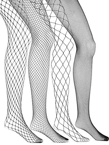 eBoot 4 Stück Fishnet Strümpfe Fischernetz Strumpfhosen Netzstrümpfe Grob Netz Strümpfe Nutzstrumpfhose für Damen, Schwarz
