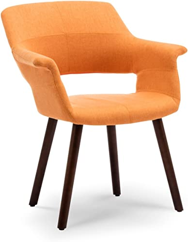 discount BELLEZE Mid-Century Modern Accent Chair Living Room high quality Upholstered Linen Dining Armchair with Wood popular Legs, (Orange) online sale