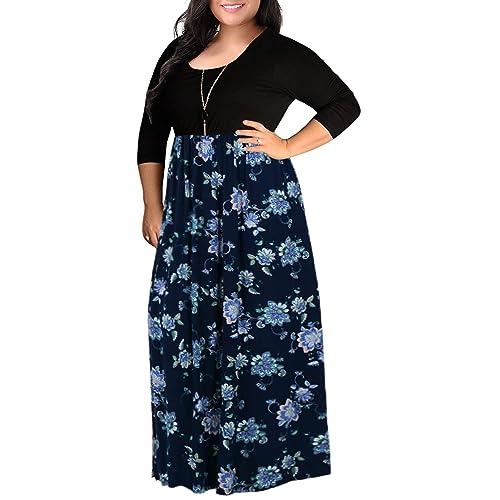 5353eecb6aa Nemidor Women s Chevron Print Summer Short Sleeve Plus Size Casual Maxi  Dress