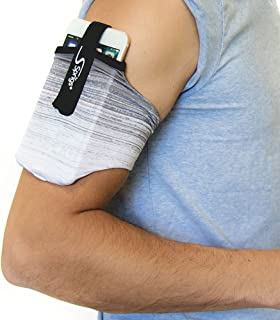 Sprigs Armband for iPhone 11/x/xr/8/7 Plus, Galaxy S10/S9, Google Pixel 4. Lightweight & Comfortable Running Armband, Stretches to Fit All Phones with Case - (Gray Biltz, Large)