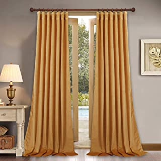 Elegant Home Decor Velvet Curtains - Soft Thick Sunlight Reduce Velvet Drapes with Rod Pocket & Back Tab for Holiday Fete/Hall, Warm Yellow, W52 x L96-inch Each Panel, Set of 2