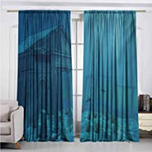 Alston Bertha Ocean 99% Blackout Curtains Sun Rays Over Ruins of A Former Civilization Deep Sea Atlantis World Nautical Picture Print for Bedroom Kindergarten Living Room W52 x L72 Inch Teal