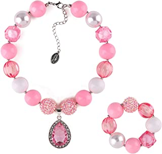 Little Girl Lightweight Chunky Bubblegum Necklace and Bracelet Set with Teardrop Crystal Pendant