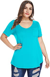 MONNURO Womens Plus Size Shirts Casual V Neck Short...