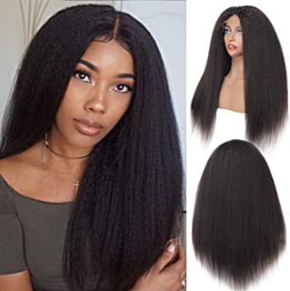 SINGLE BEST Kinky Straight Hair 4x4 Lace Front Wig with Baby Hair 9A Brazilian Virgin Hair Italian Yaki Straight Glueless Lace Closure Wig for Woman 14inches