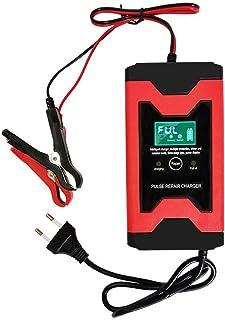 Bilbatteriladdare, 12V 3-stegs automatisk batteriladdare/underhåll med LCD-skärm Pulsreparationsladdare (röd)