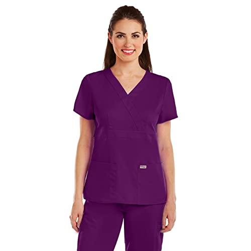 f1879a9e673 Grey's Anatomy 4153 Women's Mock Wrap Scrub Top