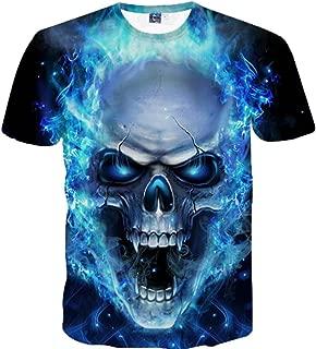 Auwer-Men's Tee Hot Sale, Skull 3D Printing O-Neck Tees Shirt Short Sleeve T-Shirt Blouse Tops (4XL, Blue)