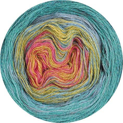 Lana Grossa Shades of Merino Cotton 611 - Hellgrau/Gelb/Flieder/Türkis/Grau