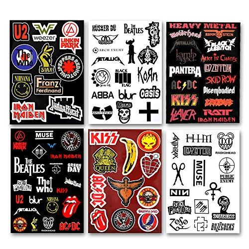 Laptop Stickers 92pcs Assorted Punk Rock Music Band Vinyl Laptop Car Bumper Stickers 6 Pack