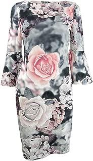 Calvin Klein Womens Floral Print Bell Sleeves Sheath Dress