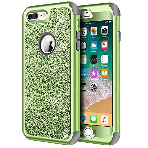 Hython Schutzhülle für iPhone 8 Plus, iPhone 7 Plus, robust, mit Glitzer, Hartschale, stoßfest, Gummi, Grün