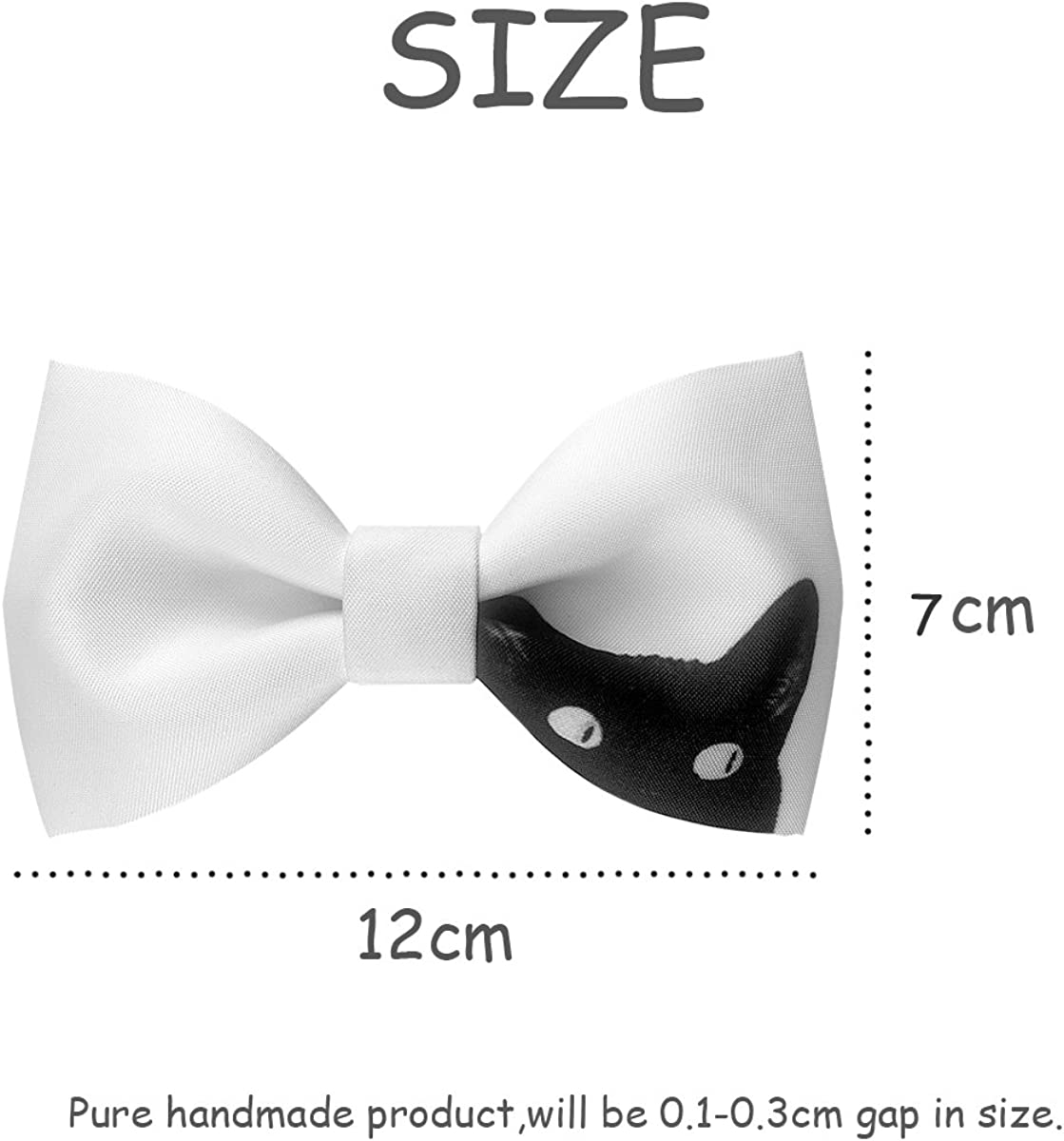 100% Satin Silk Mens Pre-tied Bowtie Solid Bow Ties-Black and White Animal Series
