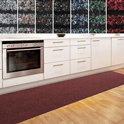 casa pura Küchenläufer Granada in großer Auswahl | strapazierfähiger Teppich Läufer für Küche Flur UVM. | Rutschfester Teppichläufer/Flurläufer für alle Böden (80x300 cm Rot)