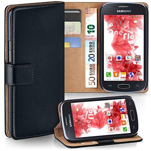 moex Premium Book-Hülle Handytasche kompatibel mit Samsung Galaxy Ace 4 | Handyhülle mit Kartenfach & Ständer - 360 Grad Schutz Handy Tasche, Schwarz