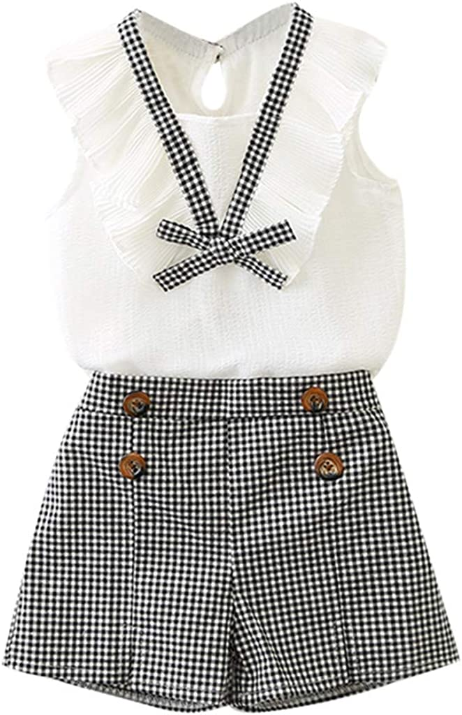 SIN vimklo Shorts Set,Girls Outfits Clothes Bowknot Vest Tops+Plaid Shorts Pants