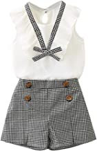 Vest Tops+Plaid Shorts Toddler Kids Baby Girls Outfits Clothes Bowknot Pants Set