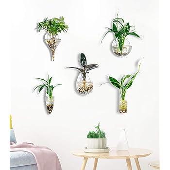 KNIKGLASS - Juego de 5 jarrón de Cristal geométrico para Plantas de Agua o Flores, decoración de Pared de jardín