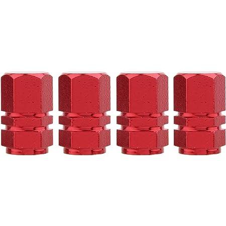 TOMALL Valve de Pneu de l'hexagone L'alliage d'aluminium Couvre l'alliage Antipoussière de Bicyclette de Moto Rouge