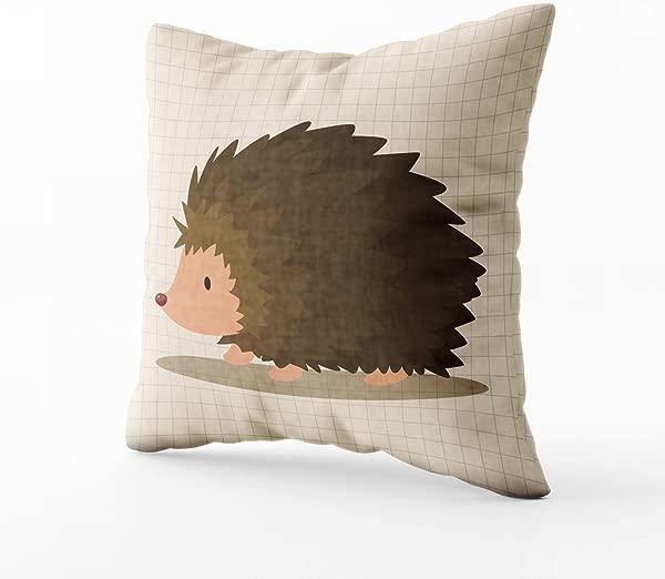 带复活节沙发拉链的 GROOTEY 方形枕套 D Cor 动物刺猬卡通主题元素 16x 16 英寸抱枕套靠垫