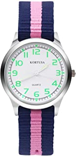 Kids Luminous Military Nylon Wrist Watch Girls 30M Waterproof Analog Quartz Watch with Adjustable Nylon Strap (Blue Pink)
