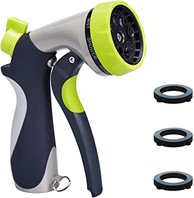 Trigger Press Gardening Hose Nozzle VicTsing Spray Nozzle for Garden Hose Green 8 Modes Hose Spayer Durable Hose Nozzle with 2 Washers Heavy Duty Hose Nozzle Family Fits to 3//4 inches Hose