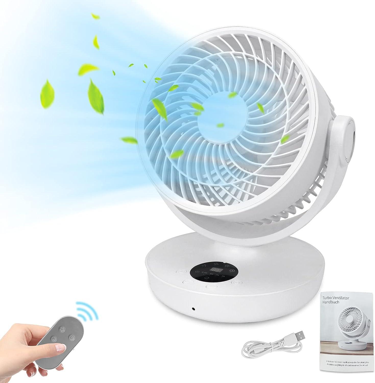 Karanice Ventilador turbo de 10.000 mAh, mando a distancia, temporizador, ventilador de mesa USB, potente y silencioso, modo ECO, aumenta la eficiencia del aire acondicionado, 4 niveles de velocidad