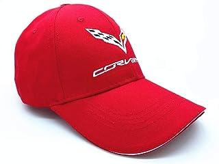 قبعات بيسبول قابلة للتعديل بلون سادة بشعار مطرز للرجال والنساء قبعات السفر لسباق السيارات تناسب C7 Corvette (أحمر اللون)