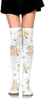 2 florales rosas Peach U0026 - Chica blanca sobre calcetines hasta la rodilla Muslo Medias altas 65 Cm / 25.6In