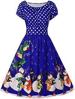 Christmas Penguin Dot Print Dress 1950s Housewife Xmas Costume O-Neck Party Cocktail Dresses