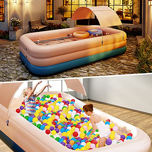 InLoveArts Inflatable Swimming Pool, Paddling Pool Swim Centre Pools with Wireless Air Pump Foldable Dog Pool Spa Bathing Wash Tub for Kids Adults Family Indoor Outdoor Garden Toys Game
