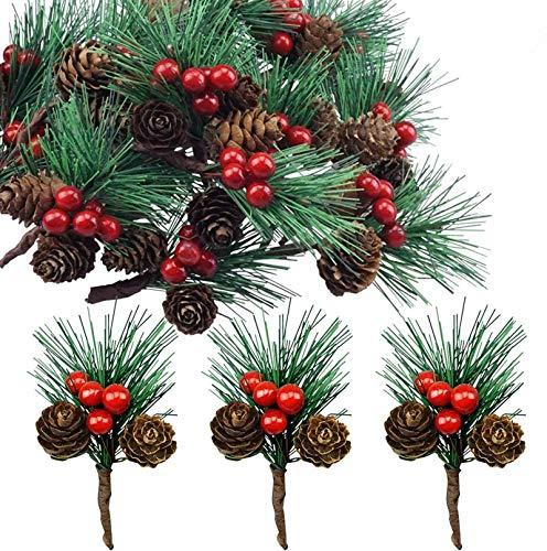 Super Idee 20 STK. Kleine künstliche Tannenzweige mit Beeren und Tannenzapfen Ideal für Weihnachtsdekoration Weihnachtsdeko Adventsdeko Aussen Innen selber Machen Basteln Adventkranz Advent Tischdeko
