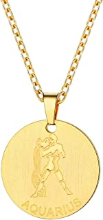 Stainless Steel Zodiac Star Sign Constellation Horoscope Pendant Necklace Gift Idea Men Women