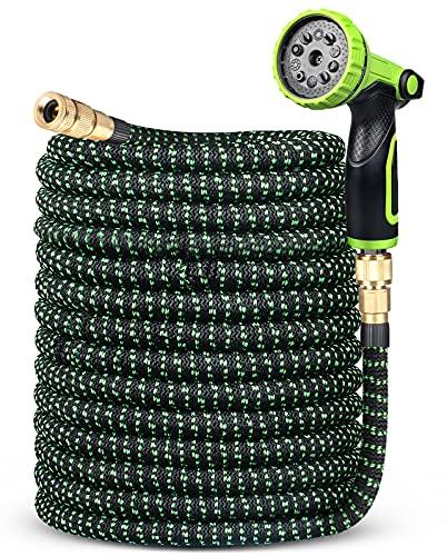 ANVAVA Flexibler Gartenschlauch Erweiterbarer 30m Wasserschlauch mit 10 Funktionen Hochdruck Sprühdüse Massivmessinganschlüsse Auslaufsicherer einziehbarer Schlauch Robuster Latexkern