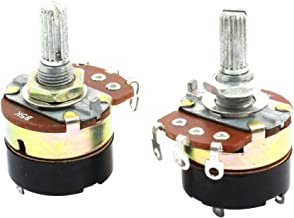 Aexit 2Pcs B5K Variable Resistors 5K Ohm Single Linear Rotary Switch Potentiometers Carbon Potentiometers