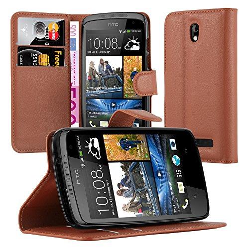 Cadorabo Hülle für HTC Desire 500 in Schoko BRAUN - Handyhülle mit Magnetverschluss, Standfunktion & Kartenfach - Hülle Cover Schutzhülle Etui Tasche Book Klapp Style