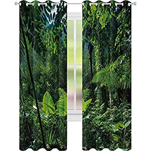 Crib Bedding And Baby Bedding Window Treatments Curtains, Green Jungle Untouched Nature Environmental Concerns Flora Fauna Jungle Rainforest, W52 X L63 Curtains For Baby Nursery Room, Forest Green