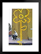 Pyramid America Yellow Lines Flower Painter Banksy, Wood, Matted Framed Poster, 20x26 inches