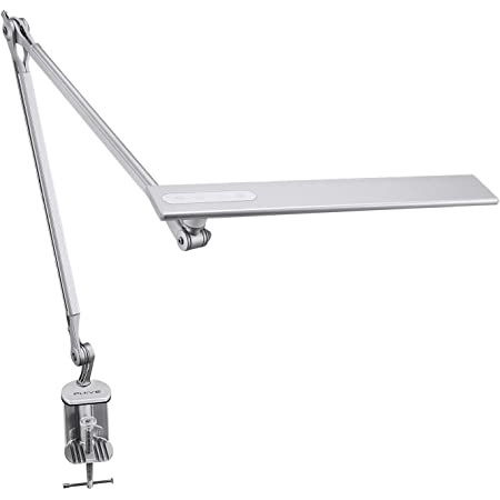 PHIVE LED Architect Desk Lamp, Clamp on Drafting Table Lamp, Eye-Caring Metal Swing Arm Workbench Lamp, Dimmable, 4 Color Modes - Great for Office, Task, Reading, Drawing (Upgraded Version), Silver