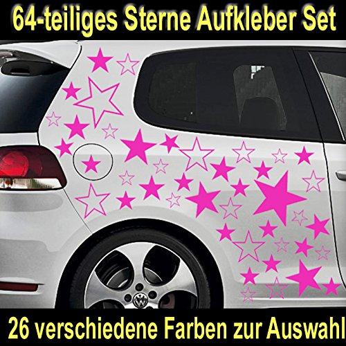 64-teiliges Stern Tuning Auto Aufkleber Styling Sticker Set - ST_002 (041 pink)