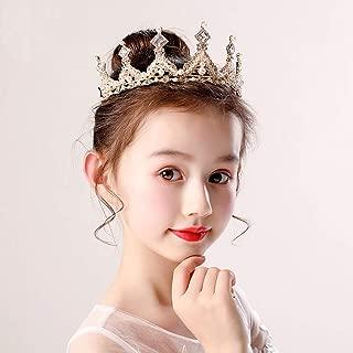 Little Baby Girl Princess Wedding Tiara Crowns Bridal Flower Headband Hair Vines Accessories Diamond Crown for Teen Girls Birthday(Gold)