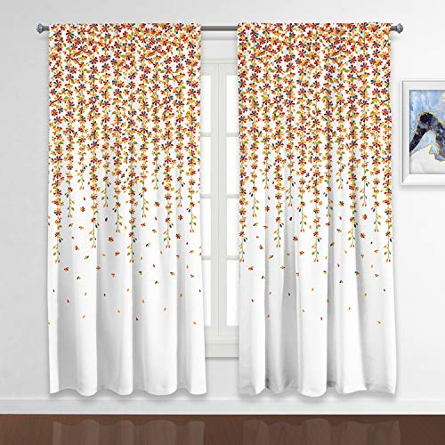 RosieLily Floral Curtains Weeping Flowers Window Curtains Fall Curtains for Living Room Burnt Orange Curtains for Living Room Orange Flower Curtains Set of 2 Panels with 84 Inch Length (52Wx84L)