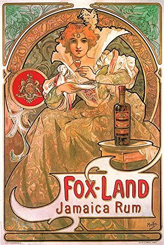 Kunstdruck Fox-Land Jamaica Rum - Botella de cristal, diseño de mujer con escudo Mucha 21