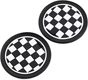 73mm Black White Checkered Checkerboard Pattern Soft Silicone Cup Holder Coasterspour For MINI Cooper R55 R56 R57 R58 R59 Front Cup Holders