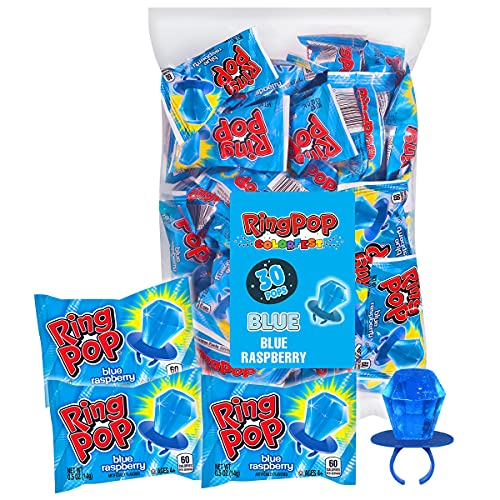 Ring Pop Individually Wrapped Back to School Blue Raspberry Party Pack – 30 Count Blue Raspberry Flavored Candy Lollipop Suckers - Blue Candy for School Treats & Care Packages