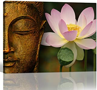 sechars - Buddha Canvas Wall Art Pink Lotus Flower Picture Canvas Prints Gold Buddha Painting for Home Living Room Office Decor Peaceful Zen Artwork Ready to Hang