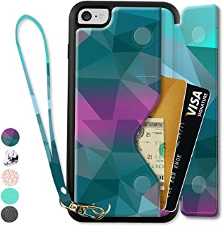 ZVEdeng iPhone 8 Wallet Case with Wrist Strap, iPhone 8 Card Holder Case, iPhone 7 Flip Case, iPhone 7 Printed Case, iPhone 8 Wallet Cover with Money Pocket - Mixcolor
