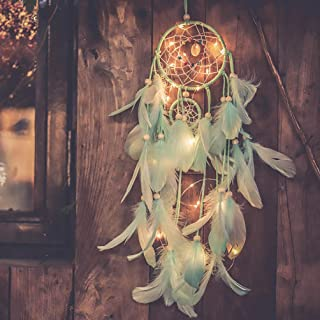 Qukueoy Light Up Dream Catchers for Bedroom Wall Hanging Decorations, LED Dreamcatcher Home Ornaments with 20 LED Lights,Fantasy Gifts for Kids, Caught Your Dream (Light Green)