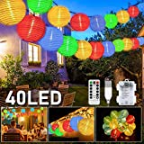 LED Lampion Lichterkette Außen, 40er 8 Modi Lampion LED Lichterketten, USB/Batteriebetriebe und IP65 Wasserdicht LED Laterne Lichter Dekoration...